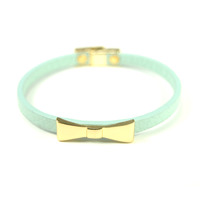 Urban Gem Bow Bracelet in Mint and Gold