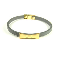 Urban Gem Bow Bracelet in Grey and Gold