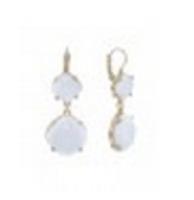 Urban Gem French Clip Drop Earrings in White