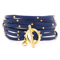 Gorjana Graham Leather Triple Wrap Bracelet in Electric Blue