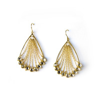 Isharya Mirror Gems Pear Chain Waterfall Earrings