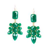 Urban Gem Faux Stone Chandelier Earrings in Emerald