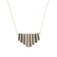 Urban Gem Between The Lines Necklace in Rhodium and Gold