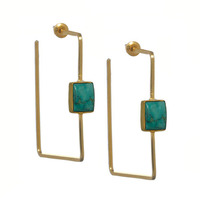 Anuja Tolia Square Earrings in Gold and Turquoise