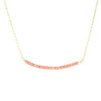 Charlene K Delicate Beaded Bar Necklace in Rose