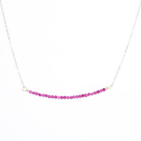 Charlene K Delicate Beaded Bar Necklace in Silver and Rose