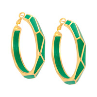 Isharya Pyramid Luxe Hoop Earrings in Malachite