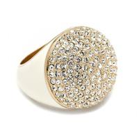 CC Skye Enamel Pave Dome Ring in Cream