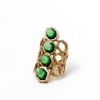 Isharya Goddess Honeycomb Ring in Green Malachite