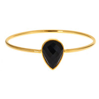 Margaret Elizabeth Pear Shaped Bangle in Black Onyx