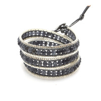Nakamol Box Chain Three Time Wrap Bracelet in Grey Agate