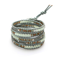 Nakamol Mixed Crystals Five Times Blue Leather Wrap Bracelet