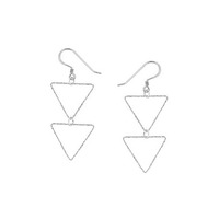 Charlene K Triangle Double Drop Earrings in Sterling Silver