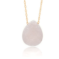 Kristine Lily Pale Pink Druzy Quartz and Gold Necklace in 14kt Gold-Fill