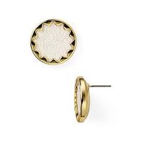 House of Harlow 1960 Sunburst Button Earrings in White Faux Stingray
