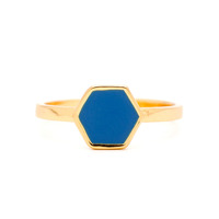 Gorjana Sunset Hexagon Ring in Imperial Blue