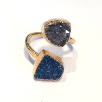 Charlene K Double Druzy Ring in Blue and Grey
