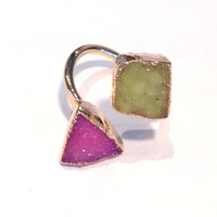 Charlene K Double Druzy Ring in Fuchsia and Green