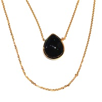 Lucas Jack River Drop Layers Necklace in Gold and Black