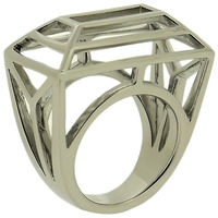 Lucas Jack Frame Wire Trapezoid Ring in Silver
