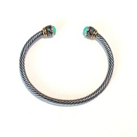 Urban Gem Twisted Silver and Turquoise Bangle