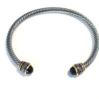 Urban Gem Twisted Silver and Black Bangle