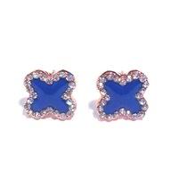 Urban Gem Blue Clover Earrings