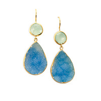 Margaret Elizabeth Two Stone Drops Aqua Chalcedony & Blue Druzy