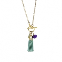 Lotus Jewelry Studio Leather Fringe Necklace in Green