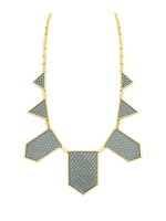 House of Harlow 1960 Five Station Necklace in Perforated Grey