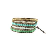 Nakamol Beaded Leather Wrap Bracelet In Brown & Turquoise