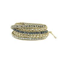 Nakamol Beaded Leather Wrap Bracelet In Bronze & Silver