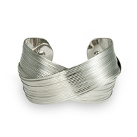 Urban Gem Cross Over Cuff in Silver