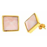 Margaret Elizabeth Pyramid Studs in Pink Opal