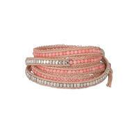 Nakamol Mixed Crystals Coral & Gold Leather Wrap Bracelet