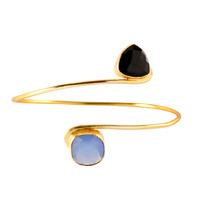 Charlene K Double Square Open Bracelet (Blue/Onyx)