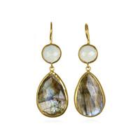 Margaret Elizabeth Two Stone Drop in Aqua & Labradorite
