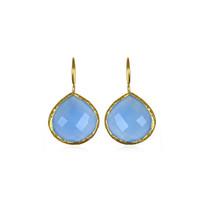 Margaret Elizabeth Teardrop Bezel Earrings in Blue Chalcedony