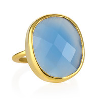 Margaret Elizabeth Faceted Cocktail Ring in Blue Chalcedony