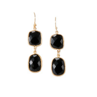 Charlene K Double Gemstones Earrings in Onyx