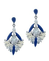 Urban Gem Deco Drop Crystal Earrings in Midnight Blue