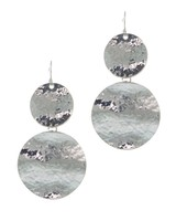 Urban Gem Hammered Patina Drop Earrings in Silver
