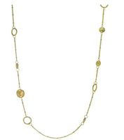 Anuja Tolia Long Hammered Disc Necklace in Gold