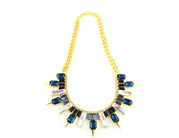 Wanderlust + Co Multi-Spike Baguette Midnight Crystal Necklace