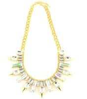 Wanderlust + Co Multi-Spike Baguette Crystal Necklace