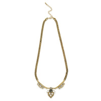 Wanderlust + Co Art Deco Sunseeker Gold & Crystal Necklace