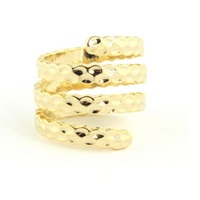 Wanderlust + Co Hammered Metal Spiral Gold Ring