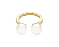Wanderlust + Co Double Pearl Gold Ring
