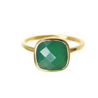 Margaret Elizabeth Cushion Cut Ring in Emerald Onyx