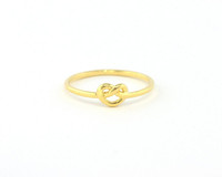 Wanderlust + Co Heart Pretzel Ring in Gold